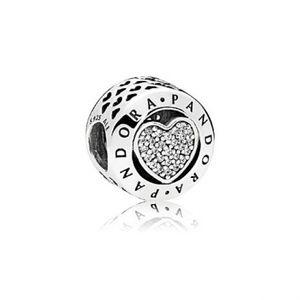 Authentic Pandora Signature Heart CZ Charm